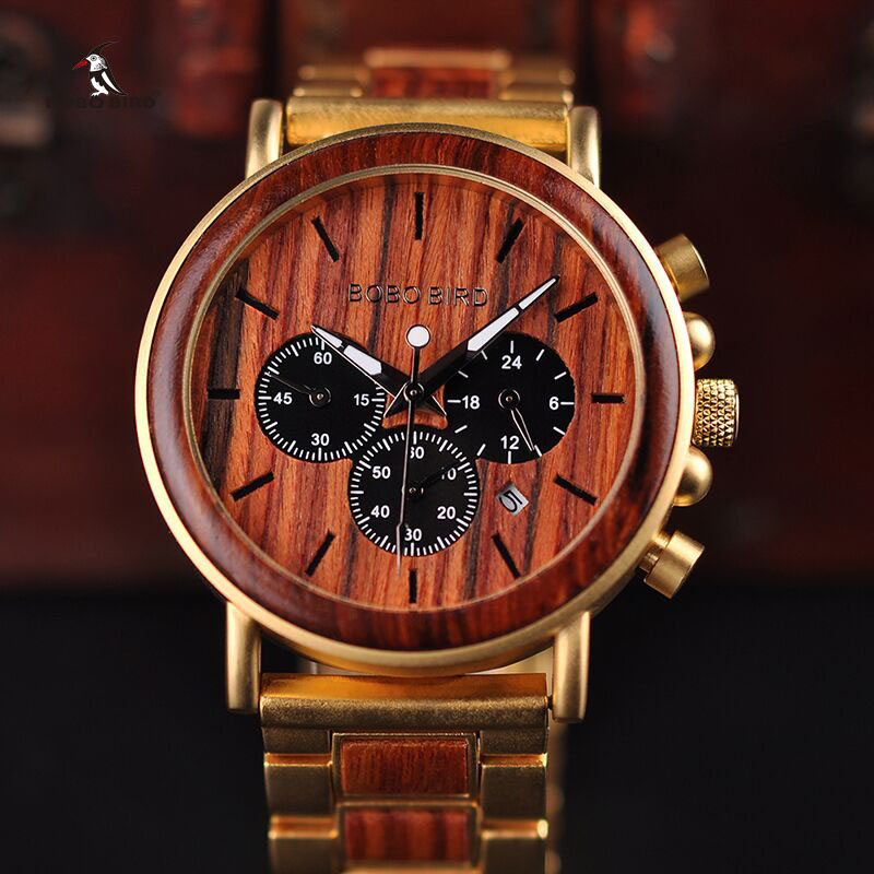 BOBO BIRD Gold Watch Men Luxury Brand Wooden Wristwatches Date Display Stop Watches reloj golden hour leeev newest wood watch men ebony simple display date quartz watches brand fashion role luxury wooden wristwatches drop shipping