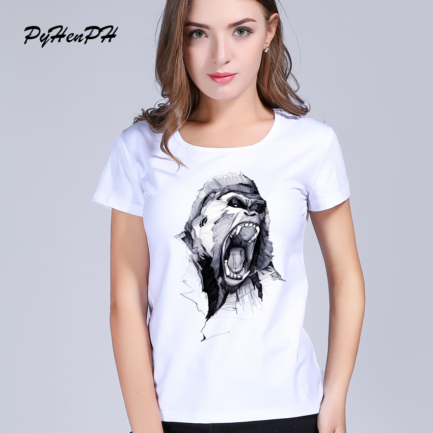 PyHenPH Wrath King Kong printed t shirt women Funny angry ape Design Short Sleeve Harajuku tee shirt femme women t-shirt