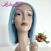 Re4U Bob Wig Short Straight Lace Front Human Hair Wigs 13x4 Brazilian Remy Human Hair Pre Plucked Smoke Blue