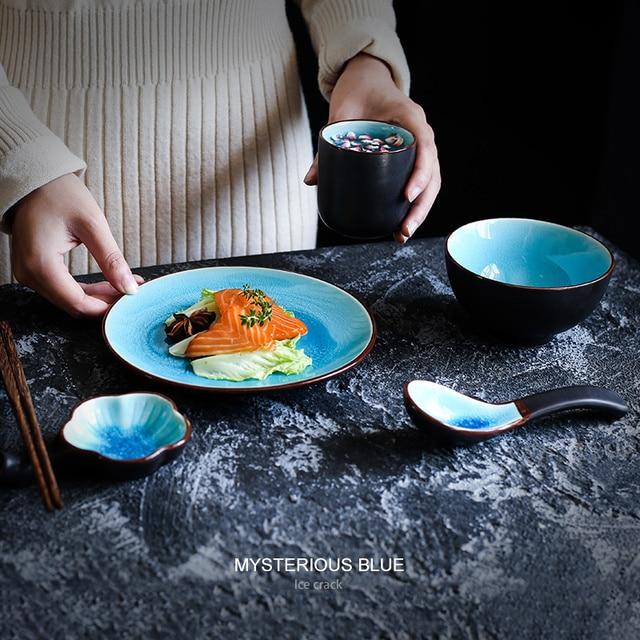 Vaisselle émaillée tasse de thé salle à manger | Bol de riz en céramique, Set de Table fournitures dhôtel