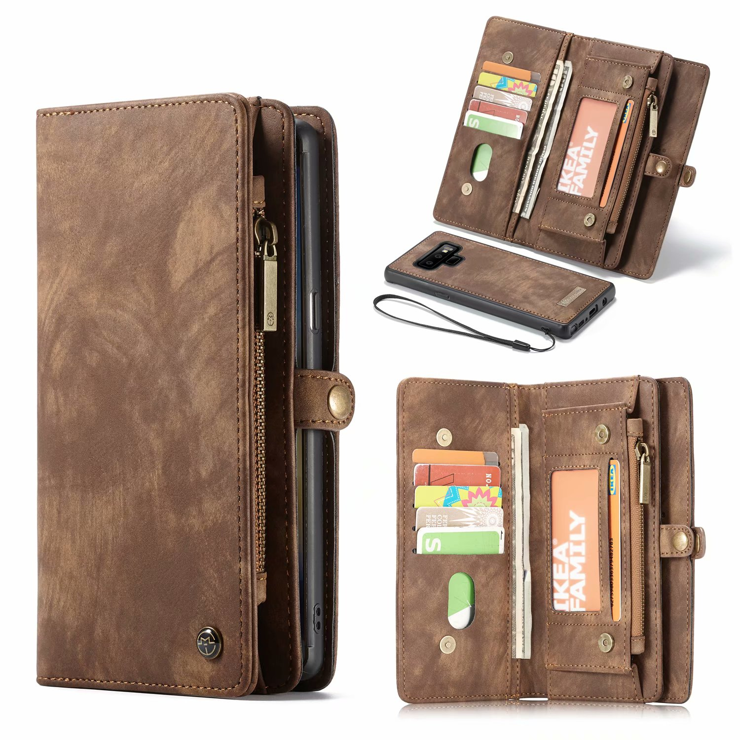 Detachable Wallet Case For Samsung GaLaxy Note 9 Flip Cover PU leather Zipper Phone Bag Case For Samsung Note9 Phone Bag Cases