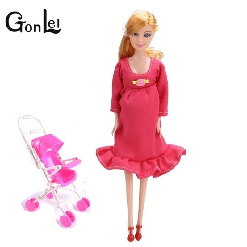GonLeI MOM+Baby Strollerl pregnant doll suits mom doll have a baby in her tummy for barbi,doll family for barbe,girls gift toy 2016 new arrival pregnant doll with mini baby in belly baby alive reborn doll in her tummy happy family for little keri