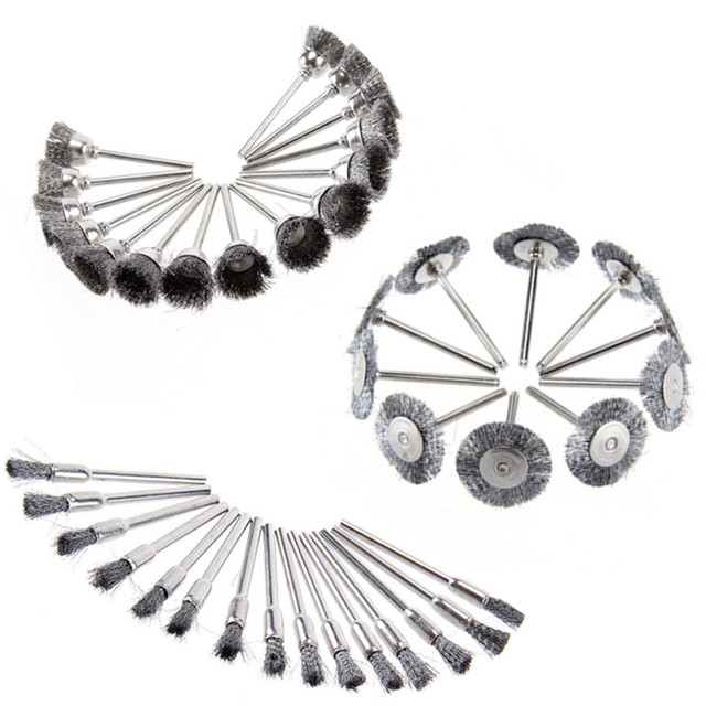 Milda 45 Pcs Stainless Steel Wire Cup Mix Brush Set Fits Dremel Rotary Tool Accessories Sets