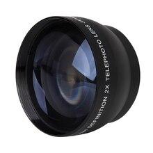 52 мм 2X Увеличение телеобъектив для Nikon AF-S 18-55 мм 55-200 мм объектив Камера
