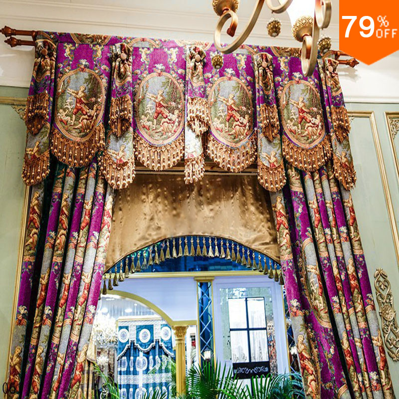 Purple Curtains New Cortina Rideaux Luxury Middle Age For Living Room Cortinas Curtain Decoration