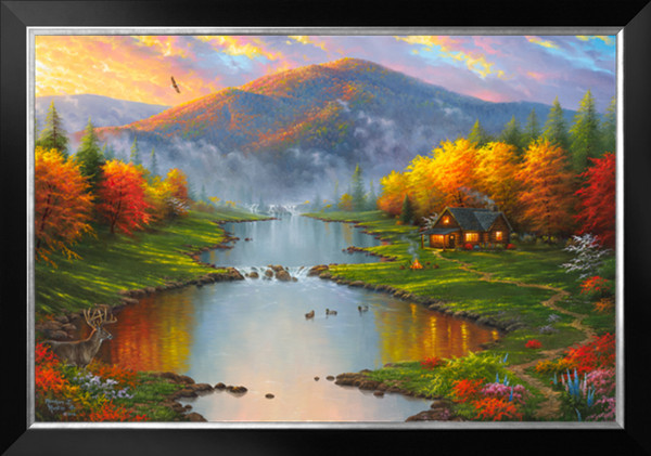 Patchwork Diy Diamond Painting Kits Set Handcraft Mountain Woods Sky River Cottage Oil Pasted