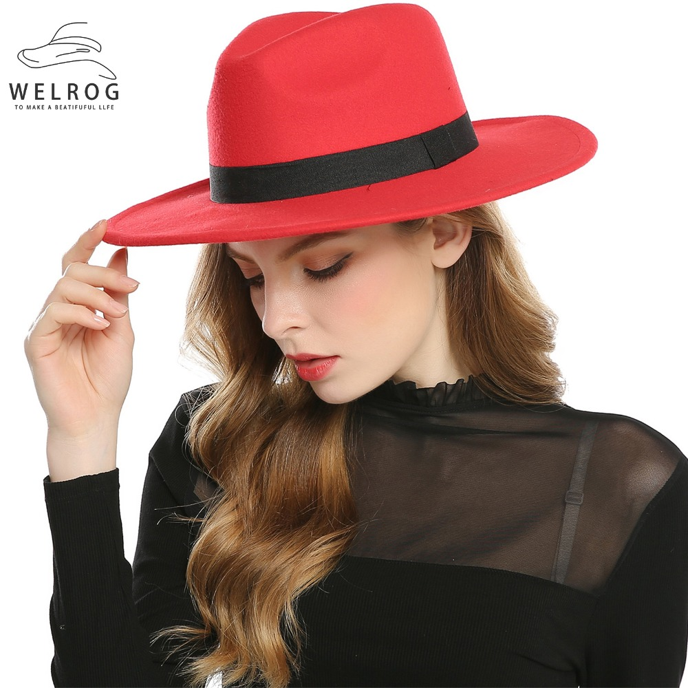 WELROG Black Red Fedora Hats For Women Imitation Wool Fedoras Panama Felt Hat Winter Men Jazz Hats Trilby Chapeau Femme Caps