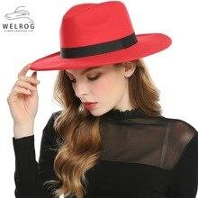 WELROG, черные, красные фетровые шляпы для женщин, имитация шерсти, фетровые шляпы, Панама, фетровая шляпа, зимние мужские джазовые шляпы, Trilby Chapeau Femme Caps