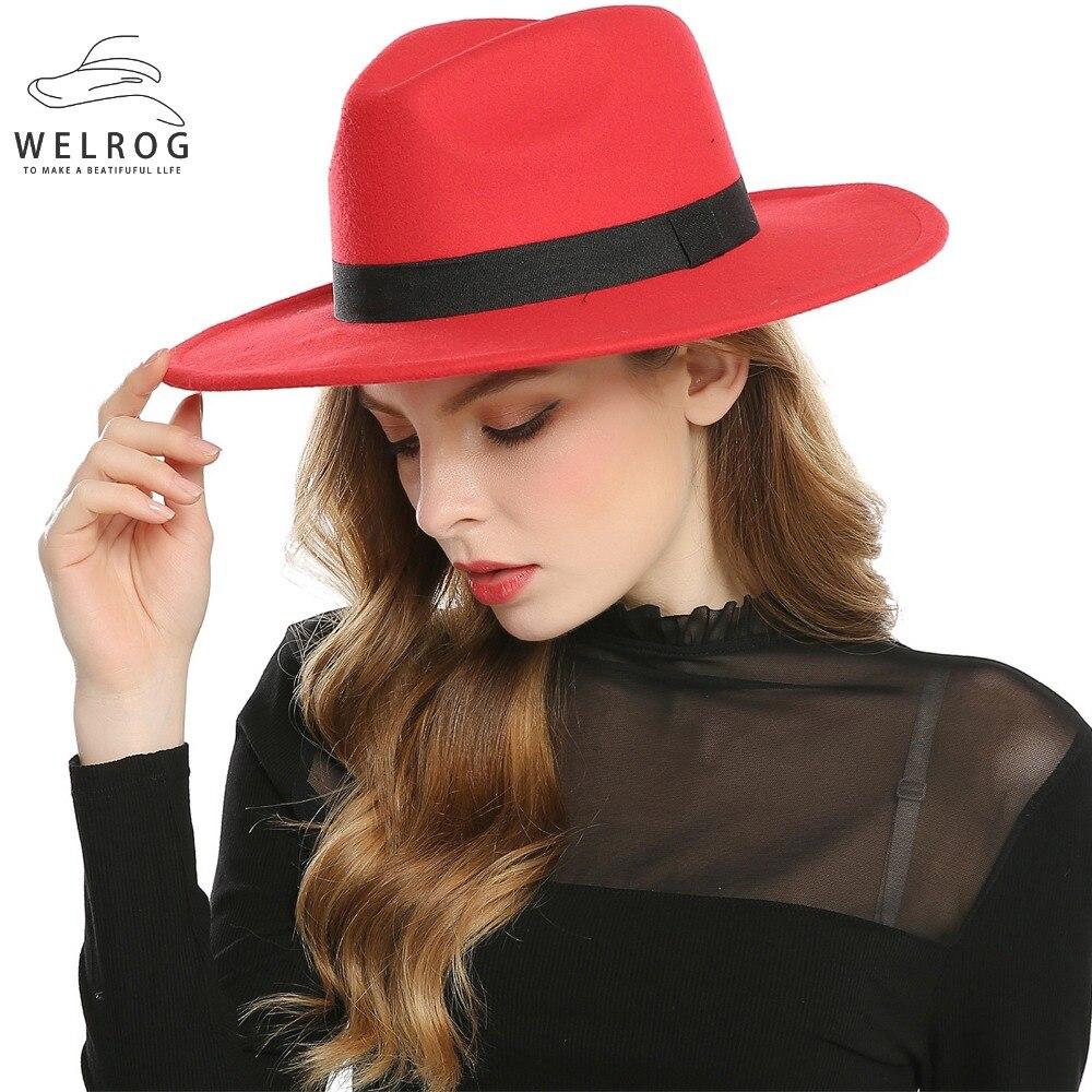 WELROG Schwarz Rot Fedora Hüte Für Frauen Nachahmung Wolle Fedoras Panama Filz Hut Winter Männer Jazz Hüte Trilby Chapeau Femme kappen