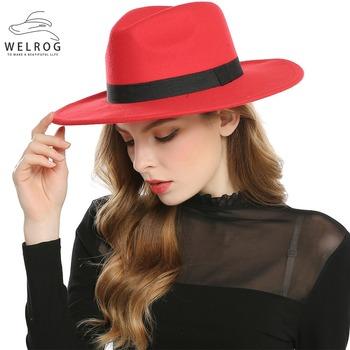 WELROG czarne czerwone kapelusze fedora dla kobiet imitacja wełny Fedoras Panama filcowy kapelusz zimowe męskie czapki jazzowe Trilby Chapeau Femme czapki tanie i dobre opinie Kobiety Dla dorosłych Poliester Wełna COTTON Formalne Stałe HT1088 Women Female Girls Ladies Navy Black Red Wine Royal Blue Wine Grey Brown