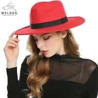 WELROG noir rouge Fedora chapeaux pour femmes Imitation laine Fedoras Panama feutre Chapeau hiver hommes Jazz chapeaux Trilby Chapeau Femme
