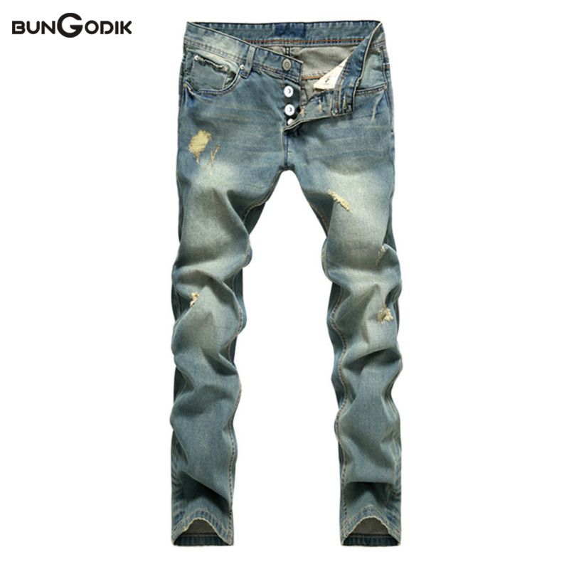 Bungodik Night Club Denim Blue Ripped Jeans Trousers High Quality Cotton Hole Mens Brand Classic Jeans White Button Jeans Men cotton club w15012394290