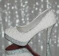 Кристалл жемчуг на высоком каблуке Свадебные Туфли невесты и подружки невесты Обувь одного мелкая рот ручной Насосы 11 см большой размер 41-42