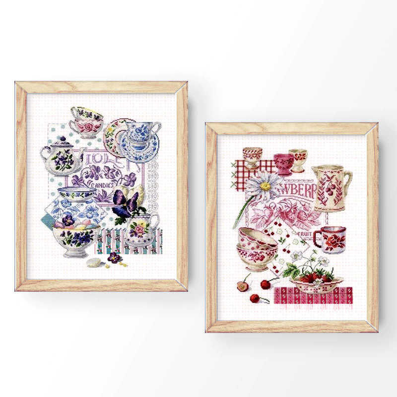 Fishxx Cross Stitch T798-799 Classical Tableware Tea Bowl Purple And Pink Two Patterns Hand-Embroidered Home Kit