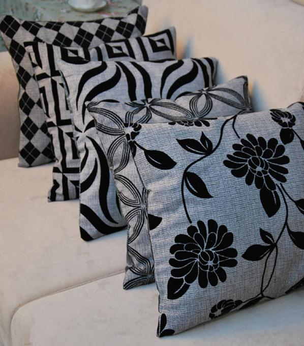 5pcs lot black gray flower flocked imitation linen silk - Cojines modernos para sofas ...