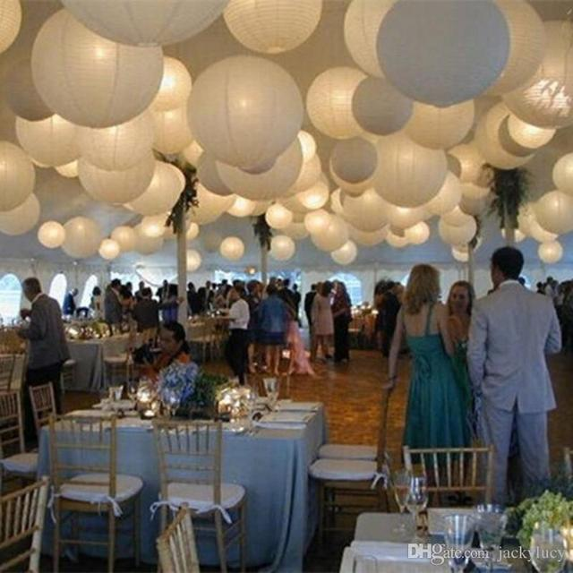 12 30cm white theme wedding holiday hanging led paper lantern with