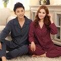Casais pijamas de algodão de mangas compridas homens pijamas tamanho grande pijama primavera e no outono roupas casa bonito xadrez kigurumi pijama