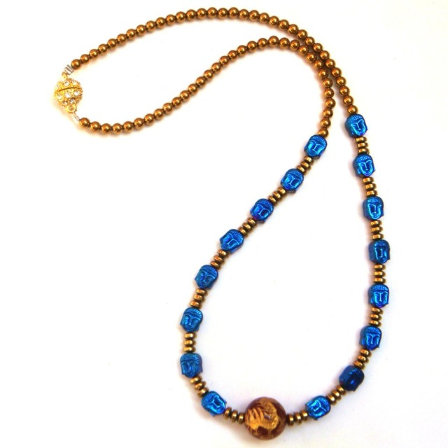 New Arrival Handmade Hematite Stone Blue Buddha Red Agate Dragon Fashion Necklace, 20-22""
