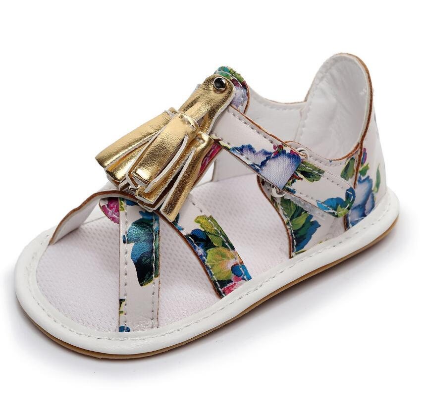 2018 new hard sole baby girls boys shoes summer baby moccasins gold tassel PU toddler floral style party shoes for 0-24M