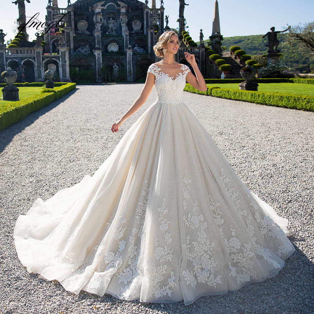 Fmogl Vestido De Noiva Lace Princess Wedding Dresses 2019 Luxury Appliques Beaded Cap Sleeve A Line Vintage Bride Gwon