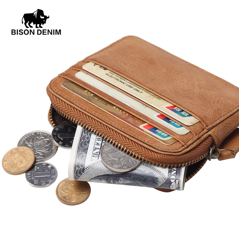 BISON DENIM Genuine Leather Coin Wallets Male Vintage Credit Card Wallets Fashion Coin Purse Small Leather Men Women Wallet bison denim vintage designer 100% genuine cowhide leather men short wallet purse card holder coin pocket male wallets w4402