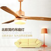 Nordic минималистский столовая вентилятор люстра вентилятор огни 48 дюймов твердой древесины вентилятор люстра дистанционного управления 110 В