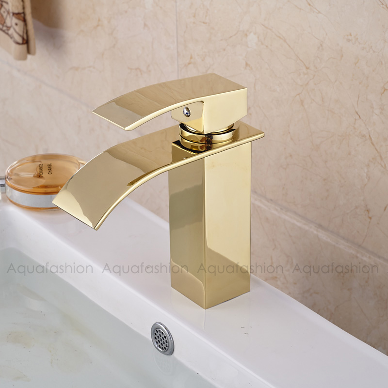 Gold Bathroom Faucet Waterfall Single Handle Golden Tap Bathroom Sink Hot and Cold Basin Faucet