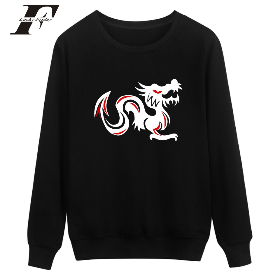 LUCKYFRIDAYF Angry Dragon printed hoodie Sweatshirt men women Anime tracksuit survetment moleton feminino Winter Plus size