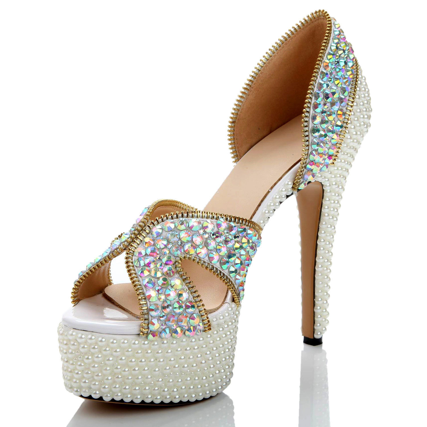 LSDN-1150 New Fashion High Heels Luxury Diamonds Pearl with Sexy Pattern Fine Heel Sandals Women Shoes