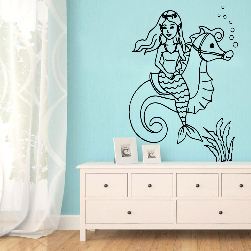 LargeLittle Mermaid Environmental Protection Vinyl Stickers Kids Room Nature Decor Wall Decoration