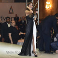 Nancy Ajram Árabe Vestidos de Noite Da Celebridade 2017 Nova Moda Preto e Branco Até O Chão Chiffon Plissado Vestido De Festa