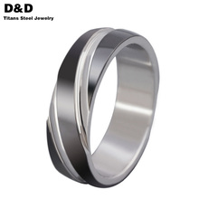 2016 New jewelry titanium rings, black titanium steel steel simple style Twill men's rings wholesale R-057B