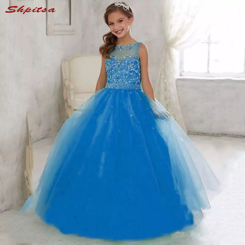 Royal Blue Lace   Flower     Girl     Dresses   for Weddings Evening Flowergirl First Communion Pageant   Dresses   for Wedding   Girls
