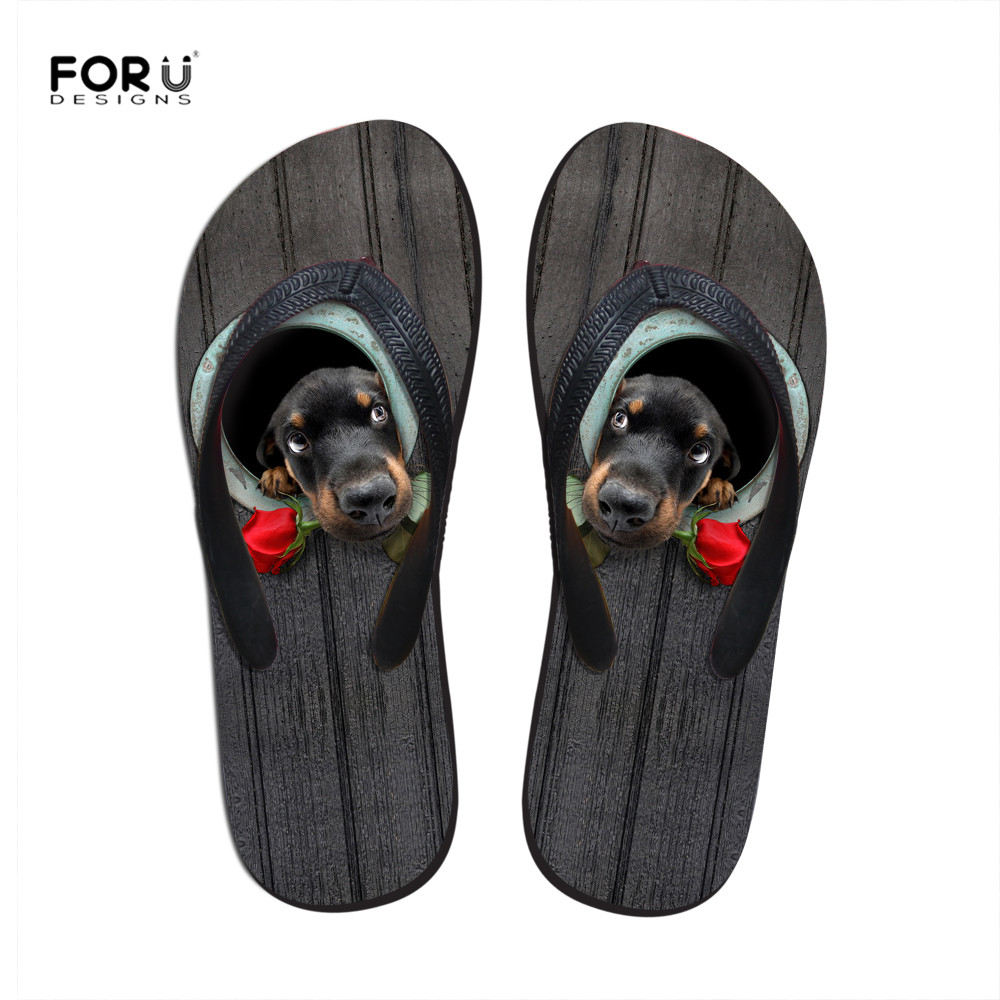 Summer Flip Flops Women 3D Print Dog Beach Flat Shoes Outdoor Flat Heel Woman Shoe Slipper Beach Lady Sandalias Drop shipping free shipping candy color women garden shoes breathable women beach shoes hsa21