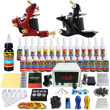 Solong Tattoo Complete Tattoo Kits Pro 2 Handmade Coil Machine Guns Power Supply Foot Pedal Grip Tip Ink Set  By DHL TKB08