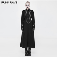 PUNK RAVE Steampunk Vintage Metal Buckle Women Military Uniform Long Coat Fashion Winter Woolen Trench