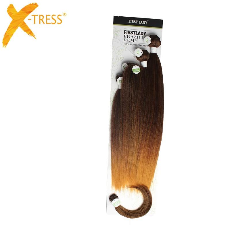 X-TRESS Syntetisk Yaki Straight Hair Bundles 6Pcs / Pack 12 14 16 - Syntetiskt hår - Foto 6
