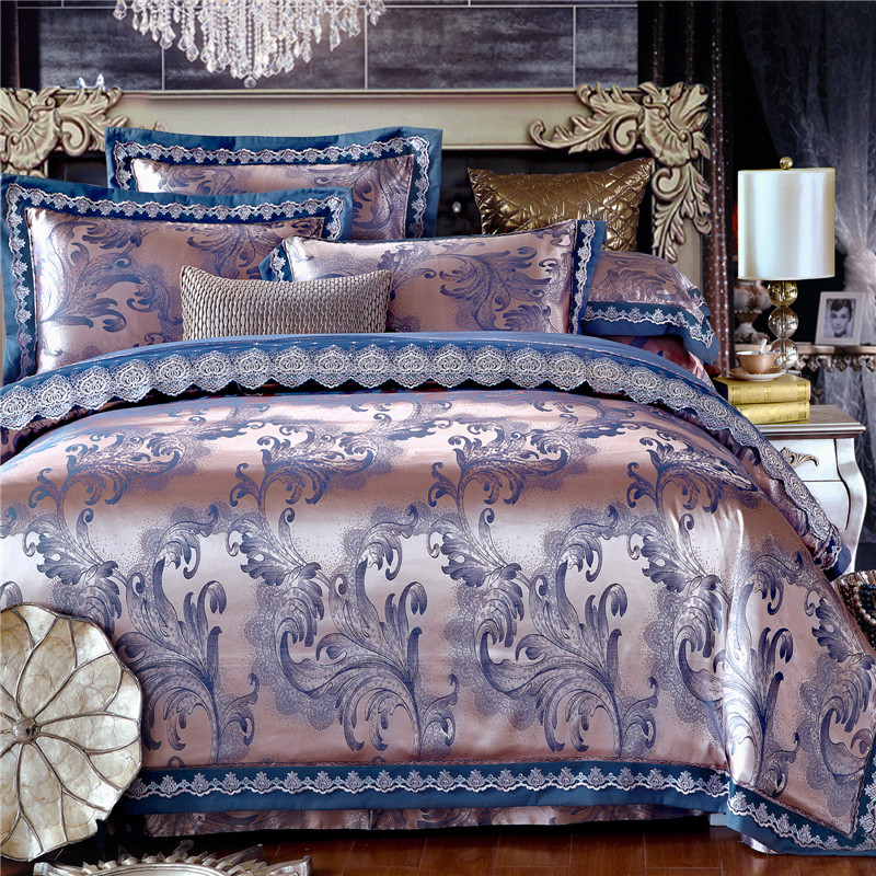 Luxury silk bedding set embroidery tribute bedclothes - King size bed sheet set ...
