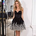 New Arrival Black Short Cocktail Dresses Evening Gown Sweetheart Satin Appliques Edge Lace-up Formal Women Dress Mini
