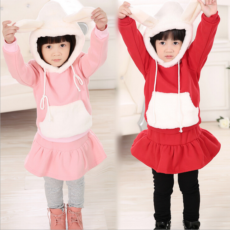 Autumn winter girls dress Korean cartoon rabbit girl thick hooded culottes children not inverted cashmere clothes kids costume newborn 2017 autumn and winter new girl cartoon plus cashmere cardigan women baby out jackets thick dress princess dress533