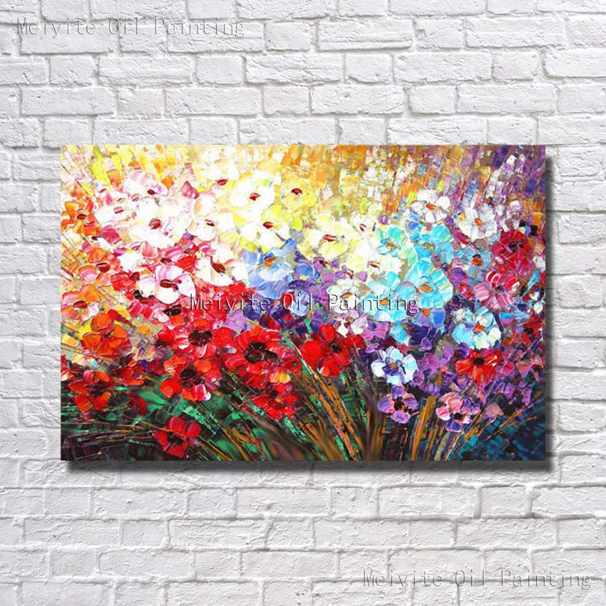 High Quality Free Shipping Ba Oil Painting Many Bright Colors Beautiful Flower Wall Picture Canvas Art Hand Paint In Calligraphy From Home