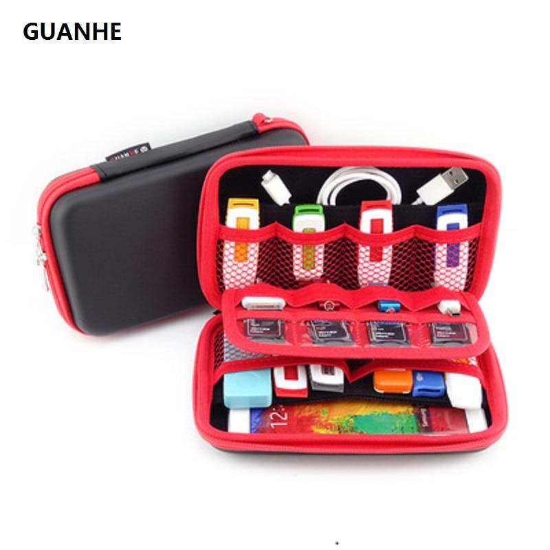 GUANHE ატარეთ გარე მყარი დისკი Case Organizer მცირე, მრავალჯერადი USB ჩხირებით, მეხსიერების ბარათებით, კაბელები და სმარტფონის მობილური ტელეფონის კაბელები