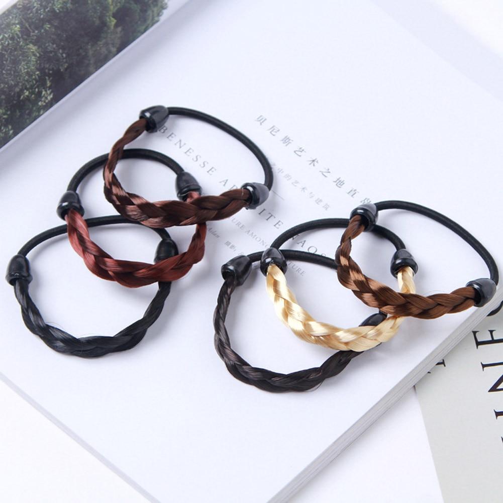1Pc Creative Korean Wig Hair Circle Ponytail Hair Band Headwear Girls Fashion simple hair rope braids stretch hair band