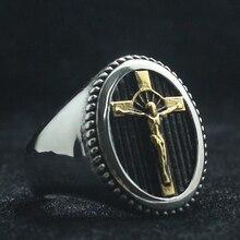 Унисекс 316L из нержавеющей стали крутой Крест Иисуса Христос Золотое серебряное кольцо