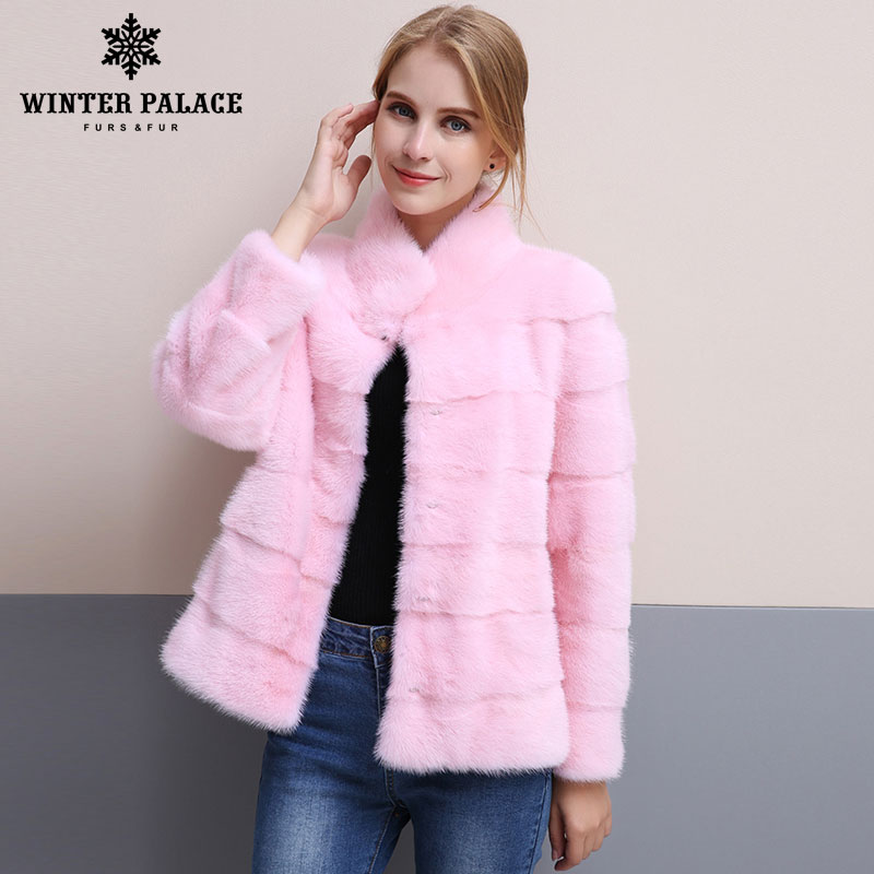Зима 2018, новый стиль, шуба из натуральной норки, стоячий воротник, хорошее качество, шуба из норки, 65 см, длинные меховые пальто, модный тонкий...