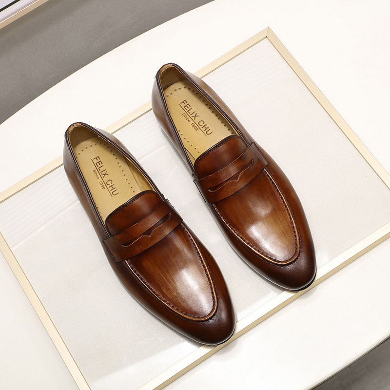 Primavera otoño elegante para hombre mocasines de cuero genuino pintado a mano Zapatos de vestir para Hombre Zapatos de negocios casuales de boda-in Zapatos formales from zapatos    2