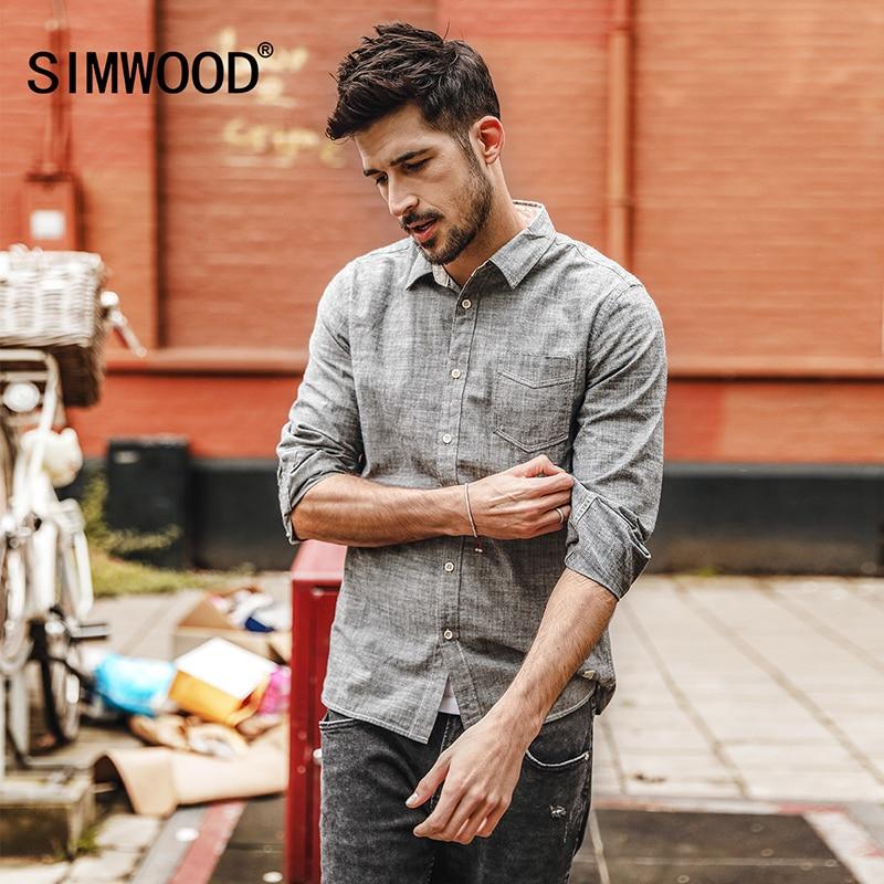SIMWOOD Alkalmi ingek 100% Pure Cotton 2019 tavaszi Új hosszú ujjú póló Férfi Slim Fit plusz méretű, kiváló minőségű CC017006