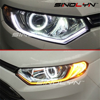 2x White Amber Flexible Tube Style Switchback Headlight LED Strip Angel Eye DRL Decorative Light For