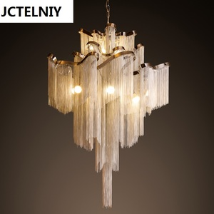 D80cm Handmade project light aluminum tassel hotel villa clubhouse double entry stair fringed large chandeliers size customized
