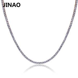 JINAO CZ Necklace Chain Iced-Out Hip-Hop Rosegold/silver-Color Copper Micro-Pave Stone2.5-10mm